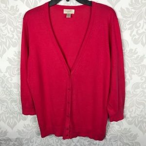 Ann Taylor Loft Pink Button Down Cardigan